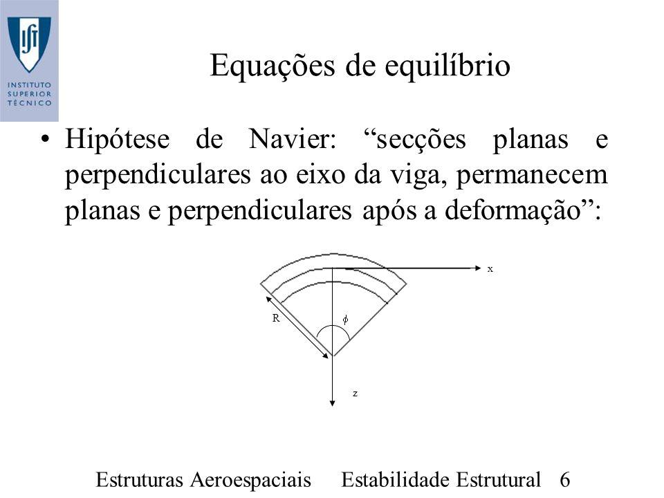 Estruturas Aeroespaciais Estabilidade Estrutural 6 Hipótese de Navier: secções planas e perpendiculares ao eixo da viga, permanecem planas e perpendic