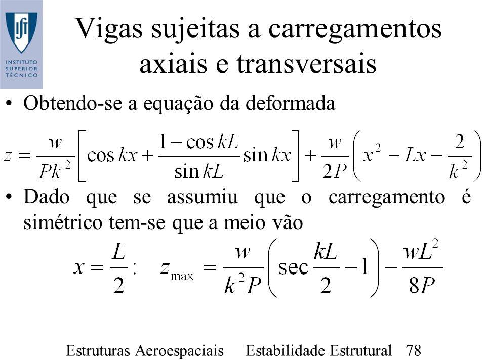 Estruturas Aeroespaciais Estabilidade Estrutural 78 Vigas sujeitas a carregamentos axiais e transversais Obtendo-se a equação da deformada Dado que se