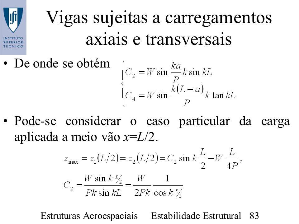 Estruturas Aeroespaciais Estabilidade Estrutural 83 Vigas sujeitas a carregamentos axiais e transversais De onde se obtém Pode-se considerar o caso pa