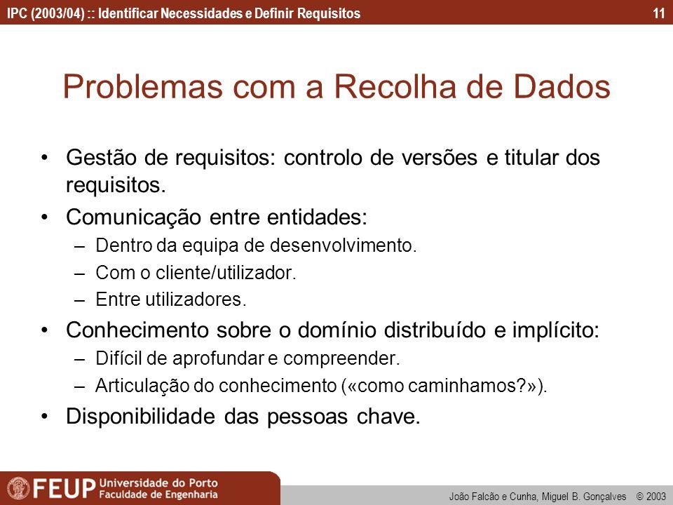 IPC (2003/04) :: Identificar Necessidades e Definir Requisitos João Falcão e Cunha, Miguel B. Gonçalves © 2003 11 Problemas com a Recolha de Dados Ges