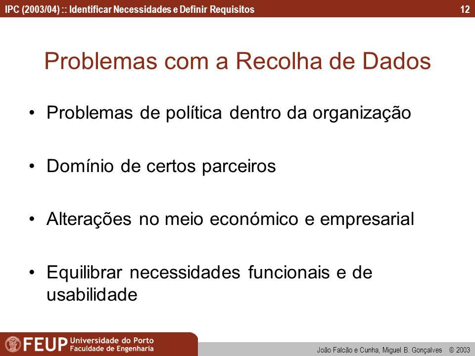 IPC (2003/04) :: Identificar Necessidades e Definir Requisitos João Falcão e Cunha, Miguel B. Gonçalves © 2003 12 Problemas com a Recolha de Dados Pro