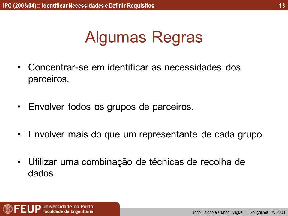 IPC (2003/04) :: Identificar Necessidades e Definir Requisitos João Falcão e Cunha, Miguel B. Gonçalves © 2003 13 Algumas Regras Concentrar-se em iden