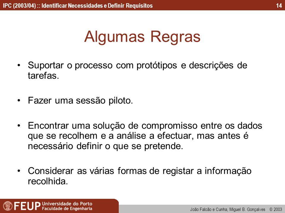 IPC (2003/04) :: Identificar Necessidades e Definir Requisitos João Falcão e Cunha, Miguel B. Gonçalves © 2003 14 Algumas Regras Suportar o processo c