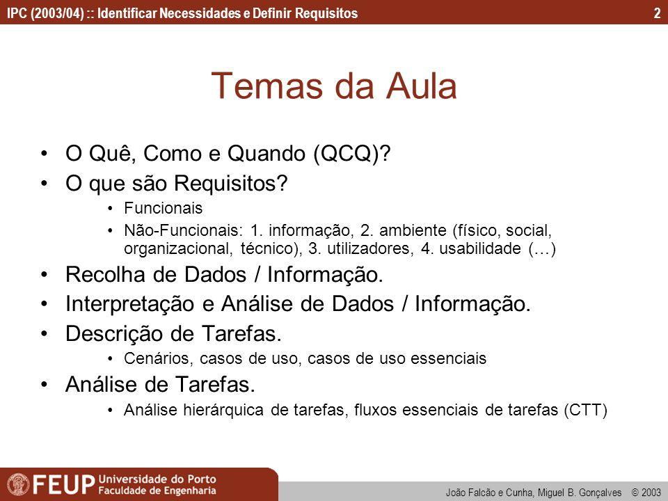 IPC (2003/04) :: Identificar Necessidades e Definir Requisitos João Falcão e Cunha, Miguel B. Gonçalves © 2003 2 Temas da Aula O Quê, Como e Quando (Q