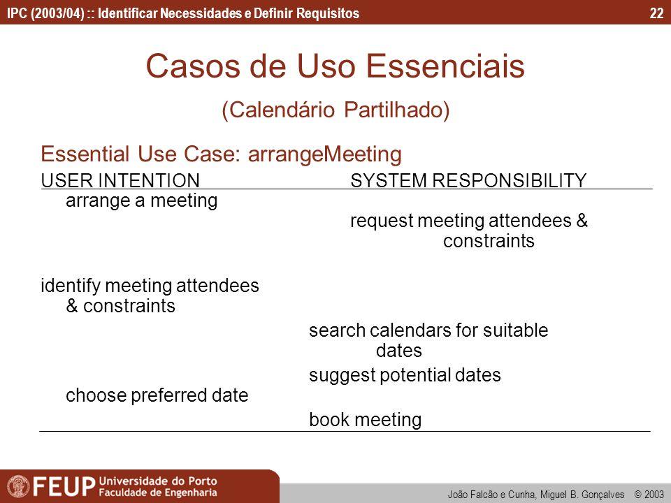 IPC (2003/04) :: Identificar Necessidades e Definir Requisitos João Falcão e Cunha, Miguel B. Gonçalves © 2003 22 Casos de Uso Essenciais (Calendário