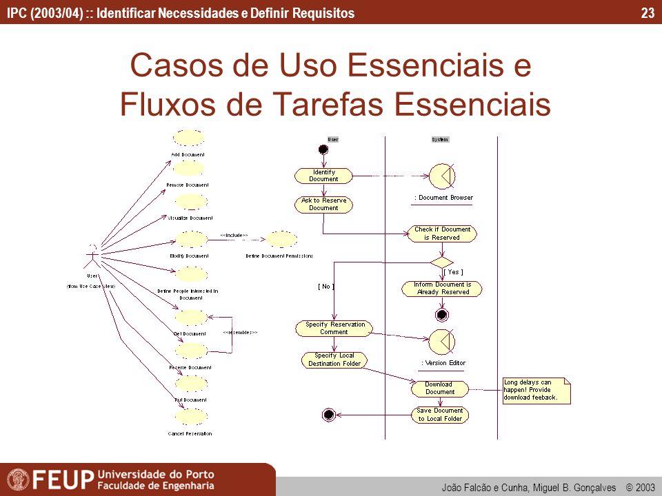 IPC (2003/04) :: Identificar Necessidades e Definir Requisitos João Falcão e Cunha, Miguel B. Gonçalves © 2003 23 Casos de Uso Essenciais e Fluxos de