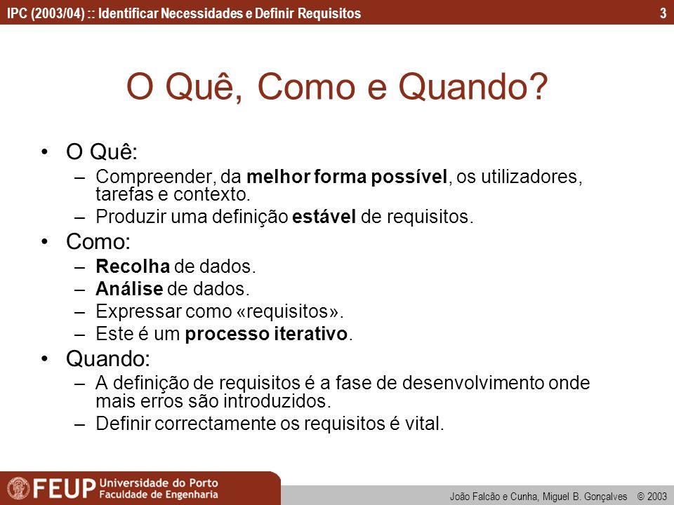 IPC (2003/04) :: Identificar Necessidades e Definir Requisitos João Falcão e Cunha, Miguel B. Gonçalves © 2003 3 O Quê, Como e Quando? O Quê: –Compree