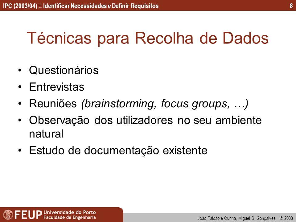 IPC (2003/04) :: Identificar Necessidades e Definir Requisitos João Falcão e Cunha, Miguel B. Gonçalves © 2003 8 Técnicas para Recolha de Dados Questi