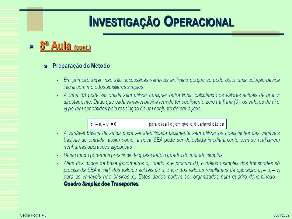 Cecília Rocha # 32001/2002 I NVESTIGAÇÃO O PERACIONAL 8ª Aula (cont.) 8ª Aula (cont.) Preparação do Método Em primeiro lugar, não são necessárias vari