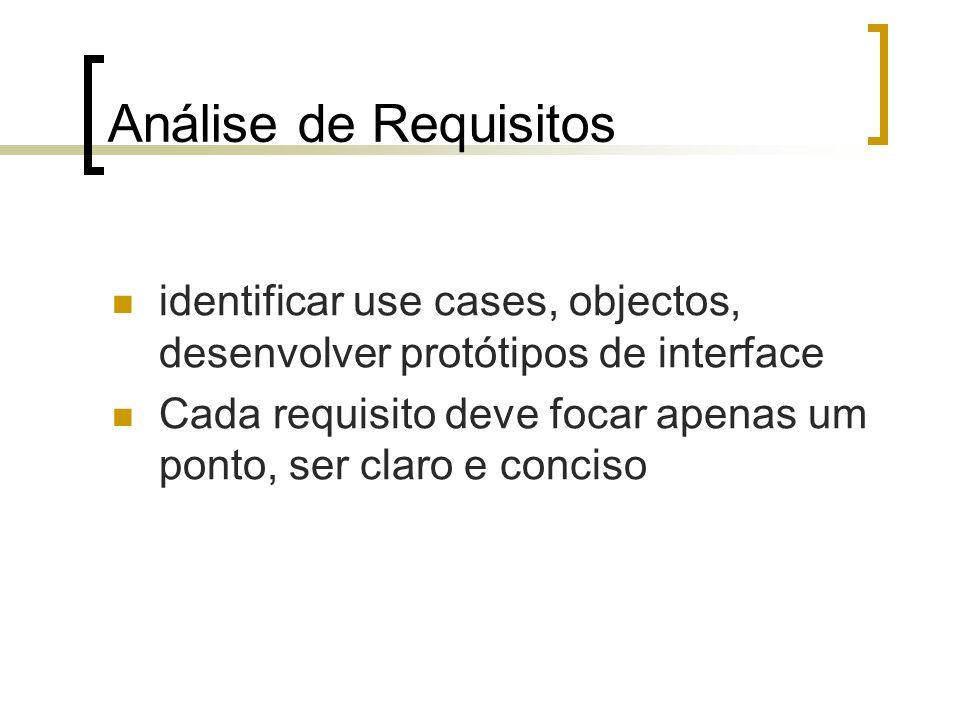 Análise de Requisitos identificar use cases, objectos, desenvolver protótipos de interface Cada requisito deve focar apenas um ponto, ser claro e conc