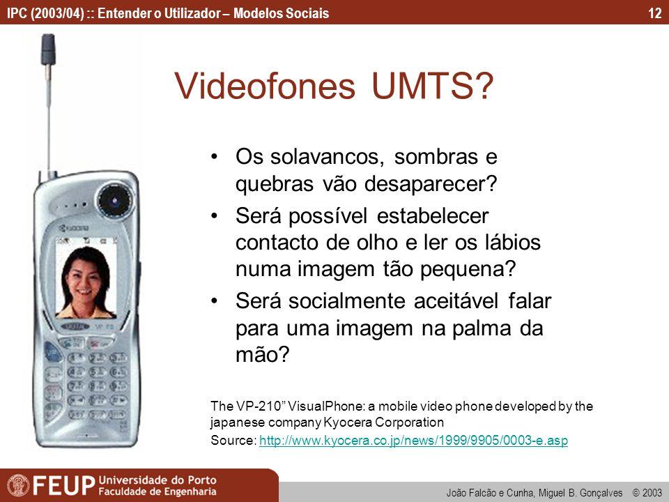 João Falcão e Cunha, Miguel B. Gonçalves © 2003 IPC (2003/04) :: Entender o Utilizador – Modelos Sociais12 Videofones UMTS? Os solavancos, sombras e q