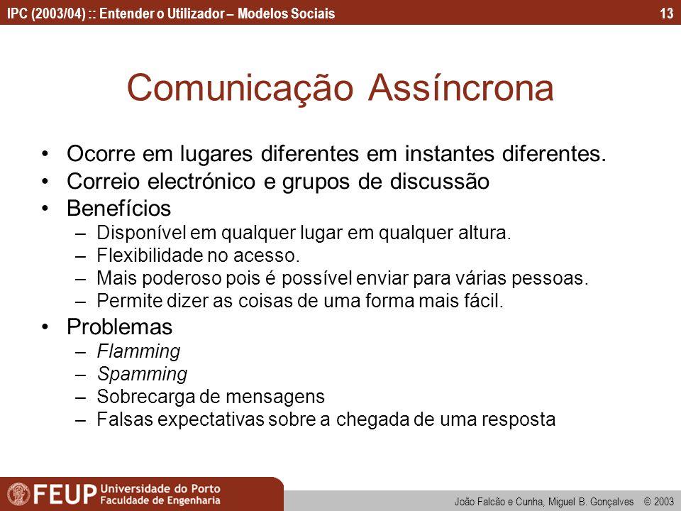 João Falcão e Cunha, Miguel B. Gonçalves © 2003 IPC (2003/04) :: Entender o Utilizador – Modelos Sociais13 Comunicação Assíncrona Ocorre em lugares di