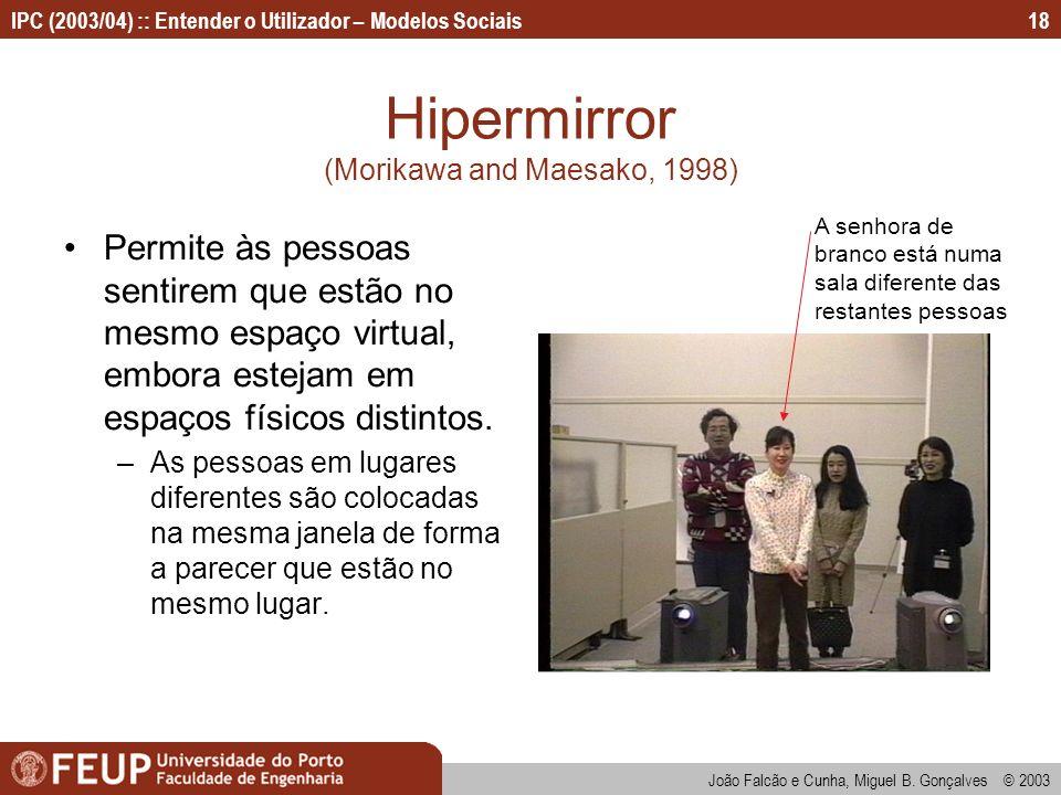 João Falcão e Cunha, Miguel B. Gonçalves © 2003 IPC (2003/04) :: Entender o Utilizador – Modelos Sociais18 Hipermirror (Morikawa and Maesako, 1998) Pe