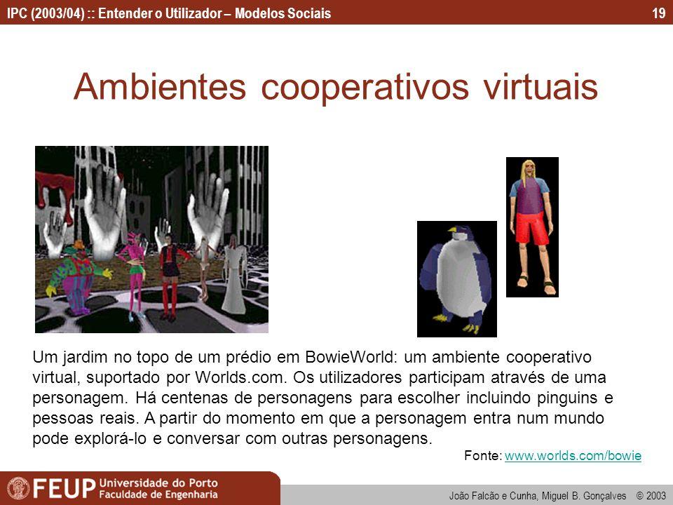 João Falcão e Cunha, Miguel B. Gonçalves © 2003 IPC (2003/04) :: Entender o Utilizador – Modelos Sociais19 Ambientes cooperativos virtuais Um jardim n