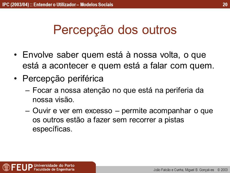 João Falcão e Cunha, Miguel B. Gonçalves © 2003 IPC (2003/04) :: Entender o Utilizador – Modelos Sociais20 Percepção dos outros Envolve saber quem est