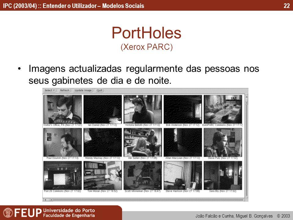 João Falcão e Cunha, Miguel B. Gonçalves © 2003 IPC (2003/04) :: Entender o Utilizador – Modelos Sociais22 PortHoles (Xerox PARC) Imagens actualizadas