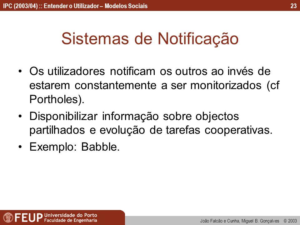João Falcão e Cunha, Miguel B. Gonçalves © 2003 IPC (2003/04) :: Entender o Utilizador – Modelos Sociais23 Sistemas de Notificação Os utilizadores not