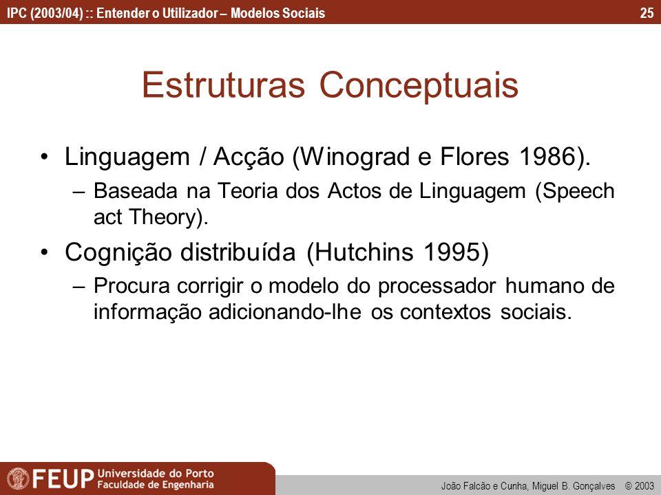 João Falcão e Cunha, Miguel B. Gonçalves © 2003 IPC (2003/04) :: Entender o Utilizador – Modelos Sociais25 Estruturas Conceptuais Linguagem / Acção (W