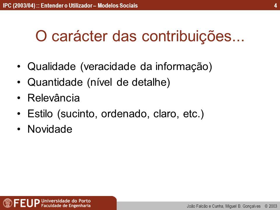 João Falcão e Cunha, Miguel B. Gonçalves © 2003 IPC (2003/04) :: Entender o Utilizador – Modelos Sociais4 O carácter das contribuições... Qualidade (v