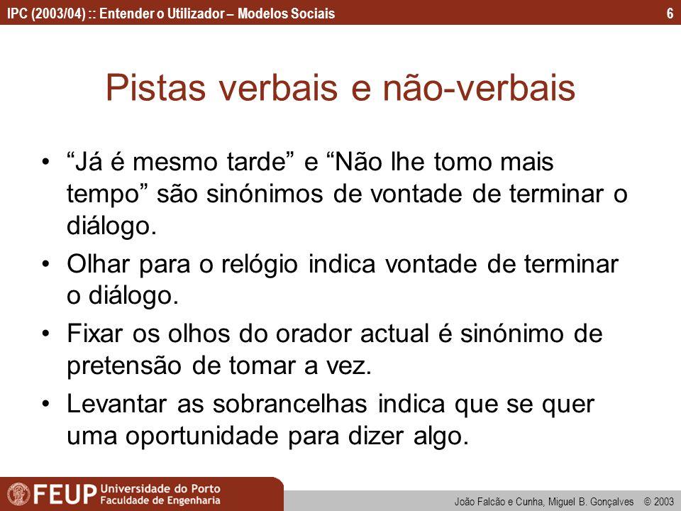 João Falcão e Cunha, Miguel B. Gonçalves © 2003 IPC (2003/04) :: Entender o Utilizador – Modelos Sociais6 Pistas verbais e não-verbais Já é mesmo tard