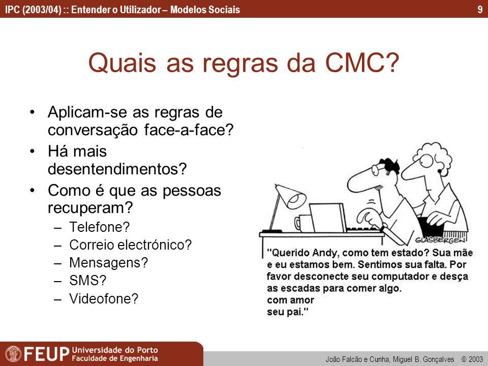 João Falcão e Cunha, Miguel B. Gonçalves © 2003 IPC (2003/04) :: Entender o Utilizador – Modelos Sociais9 Quais as regras da CMC? Aplicam-se as regras