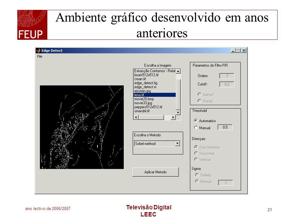 ano lectivo de 2006/2007 Televisão Digital LEEC 21 Ambiente gráfico desenvolvido em anos anteriores