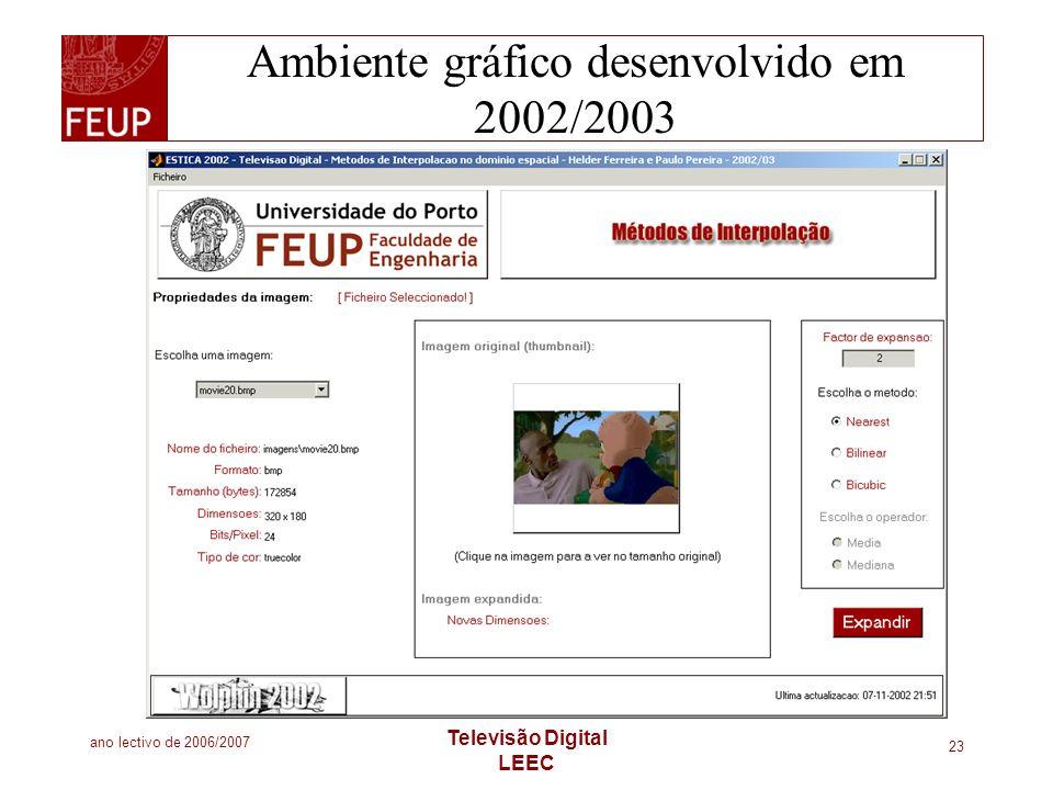 ano lectivo de 2006/2007 Televisão Digital LEEC 23 Ambiente gráfico desenvolvido em 2002/2003