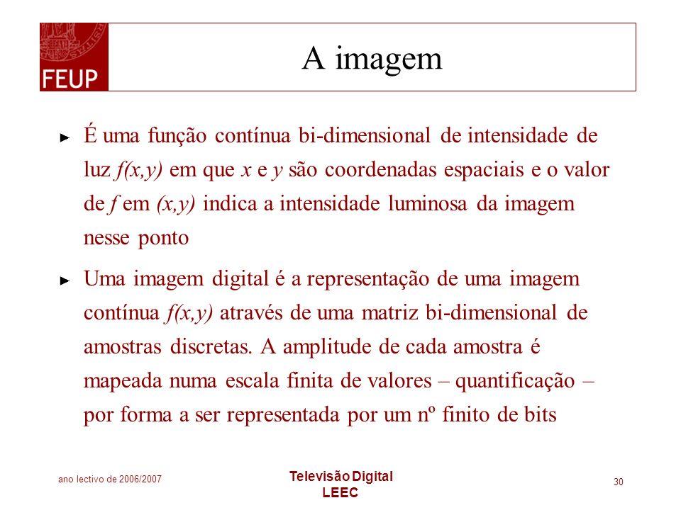 ano lectivo de 2006/2007 Televisão Digital LEEC 30 A imagem É uma função contínua bi-dimensional de intensidade de luz f(x,y) em que x e y são coorden