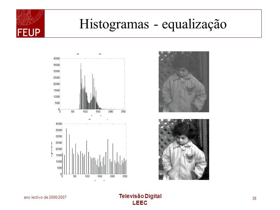 ano lectivo de 2006/2007 Televisão Digital LEEC 38 Histogramas - equalização