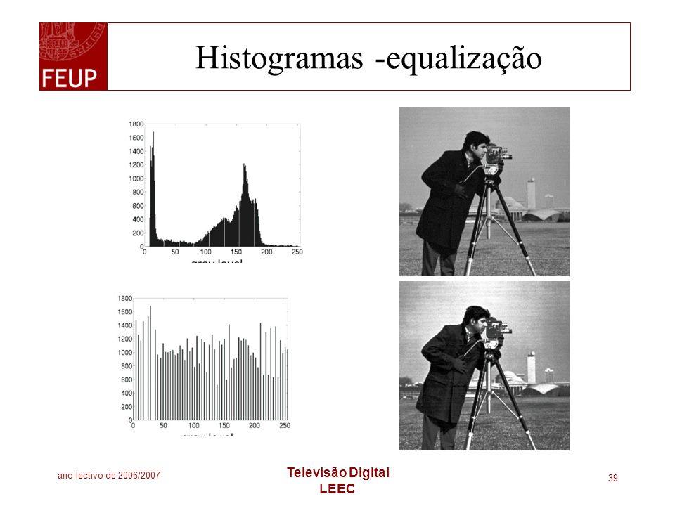 ano lectivo de 2006/2007 Televisão Digital LEEC 39 Histogramas -equalização