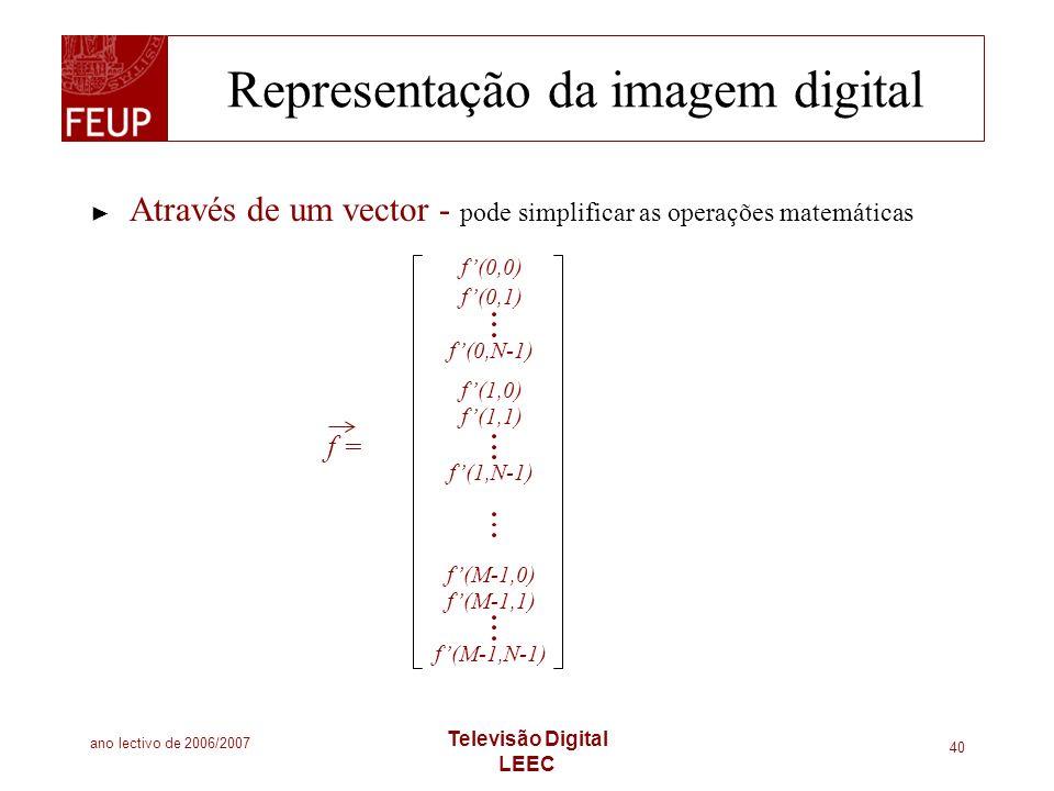 ano lectivo de 2006/2007 Televisão Digital LEEC 40 Representação da imagem digital Através de um vector - pode simplificar as operações matemáticas f