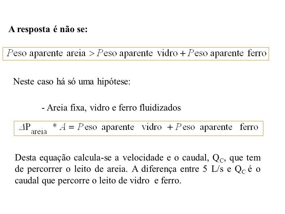 A resposta é não se: Neste caso há só uma hipótese: - Areia fixa, vidro e ferro fluidizados Desta equação calcula-se a velocidade e o caudal, Q C, que