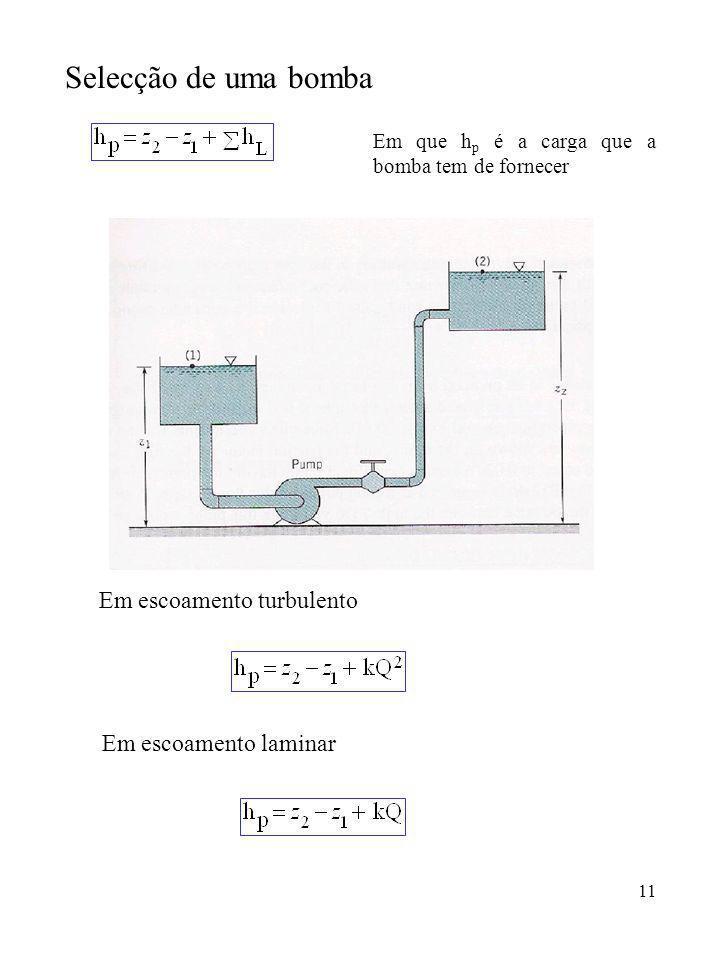 11 Selecção de uma bomba Em que h p é a carga que a bomba tem de fornecer Em escoamento laminar Em escoamento turbulento
