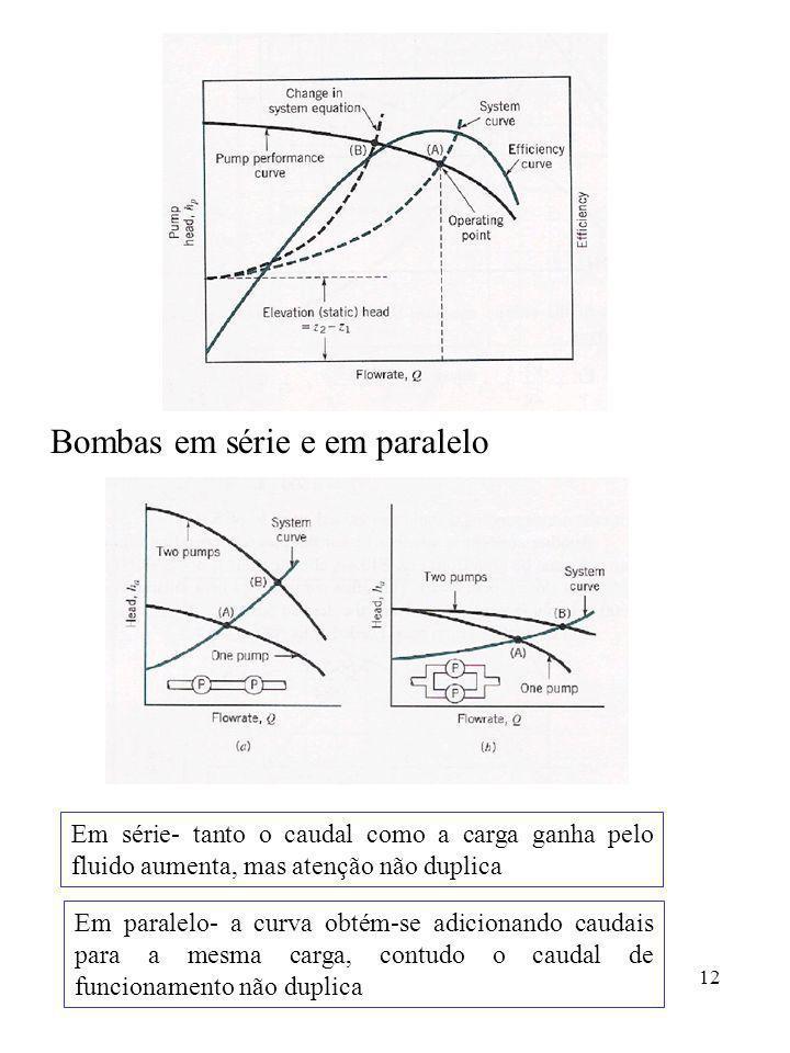 12 Bombas em série e em paralelo Em série- tanto o caudal como a carga ganha pelo fluido aumenta, mas atenção não duplica Em paralelo- a curva obtém-s
