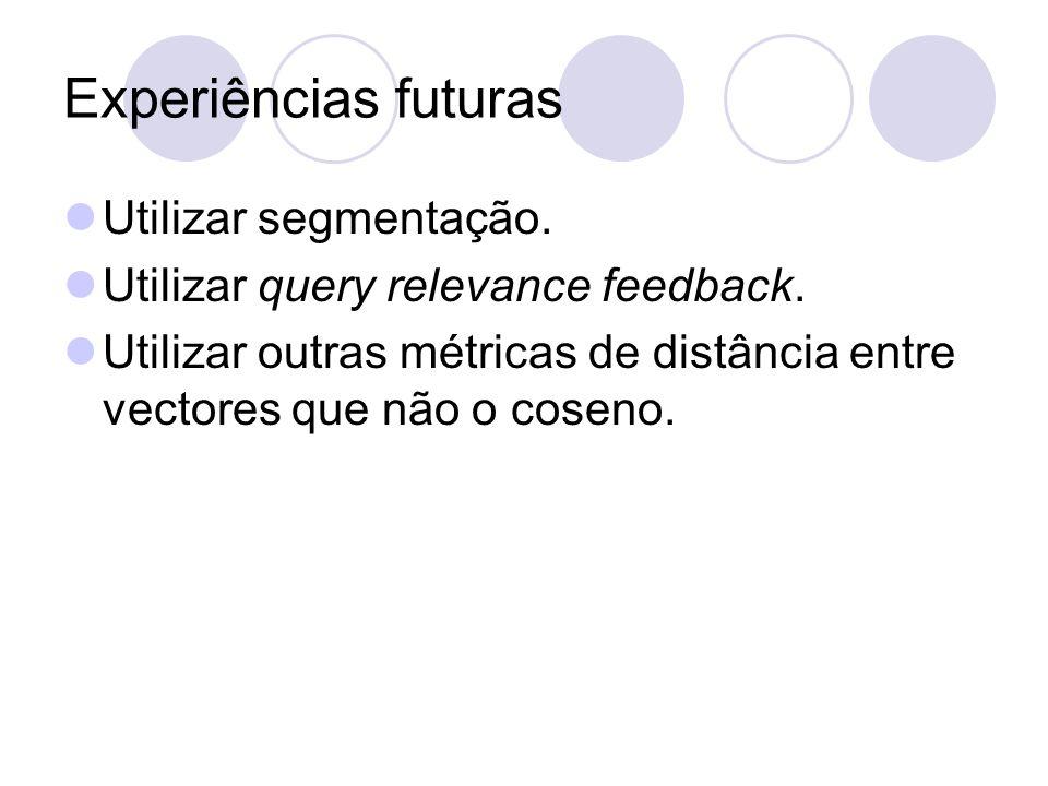 Experiências futuras Utilizar segmentação. Utilizar query relevance feedback.