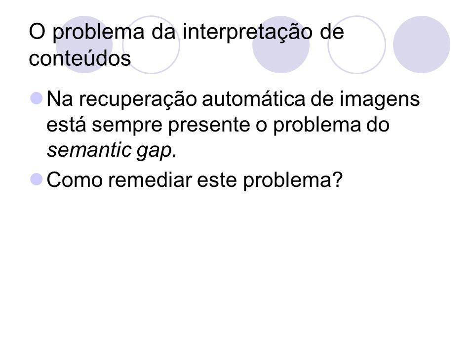 O problema da interpretação de conteúdos Na recuperação automática de imagens está sempre presente o problema do semantic gap.