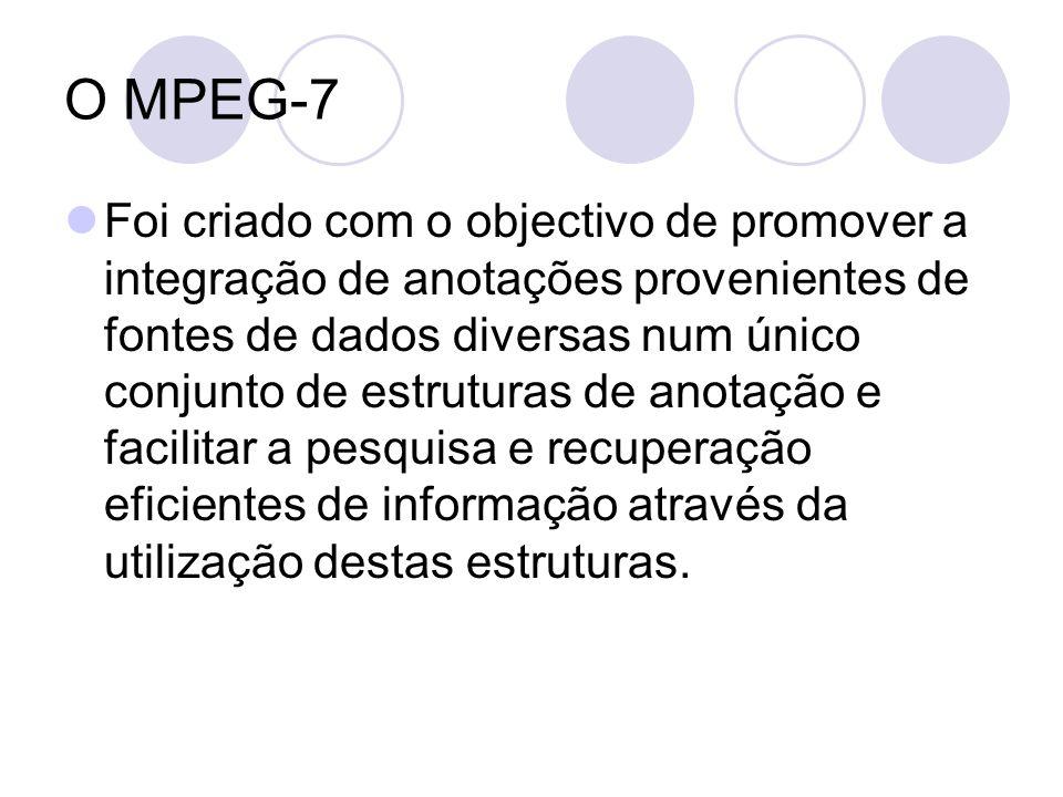 O MPEG-7 Foi criado com o objectivo de promover a integração de anotações provenientes de fontes de dados diversas num único conjunto de estruturas de anotação e facilitar a pesquisa e recuperação eficientes de informação através da utilização destas estruturas.