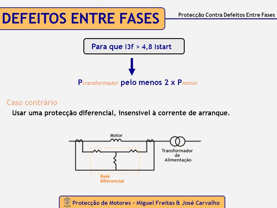 Protecção de Motores – Miguel Freitas & José Carvalho Protecção Contra Defeitos Entre Fases DEFEITOS ENTRE FASES Para que I3f > 4,8 Istart P transform