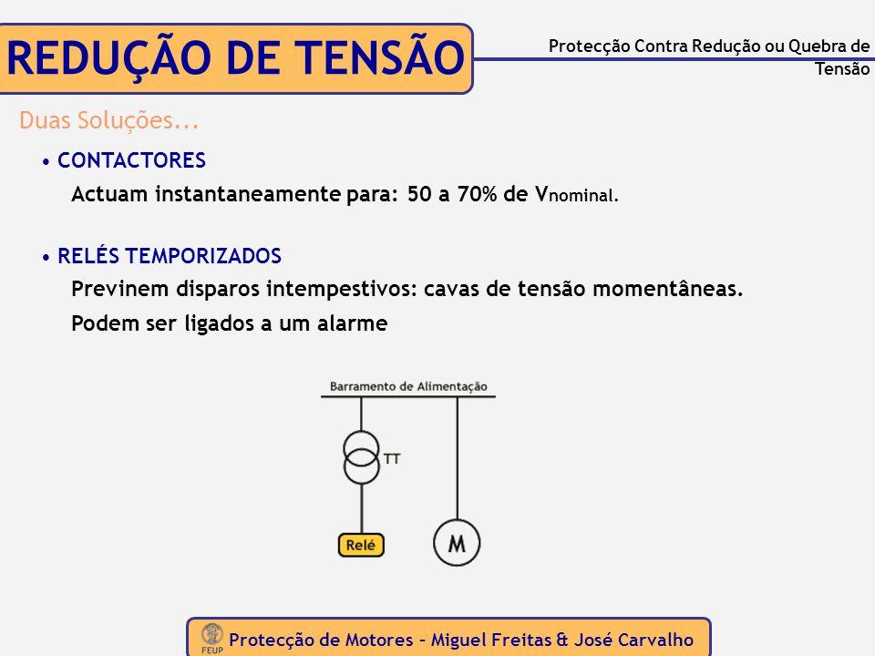 Protecção de Motores – Miguel Freitas & José Carvalho Protecção Contra Redução ou Quebra de Tensão REDUÇÃO DE TENSÃO Duas Soluções... CONTACTORES Actu