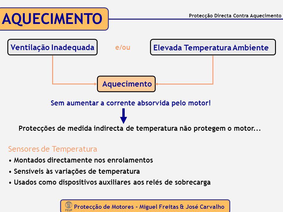 Protecção de Motores – Miguel Freitas & José Carvalho Protecção Directa Contra Aquecimento AQUECIMENTO Ventilação Inadequada Elevada Temperatura Ambie