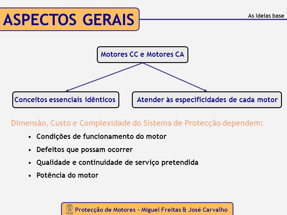 ASPECTOS GERAIS Protecção de Motores – Miguel Freitas & José Carvalho As Ideias base Motores CC e Motores CA Conceitos essenciais idênticosAtender às