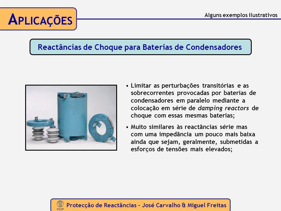 Protecção de Reactâncias – José Carvalho & Miguel Freitas A PLICAÇÕES Reactâncias de Choque para Baterias de Condensadores Limitar as perturbações tra