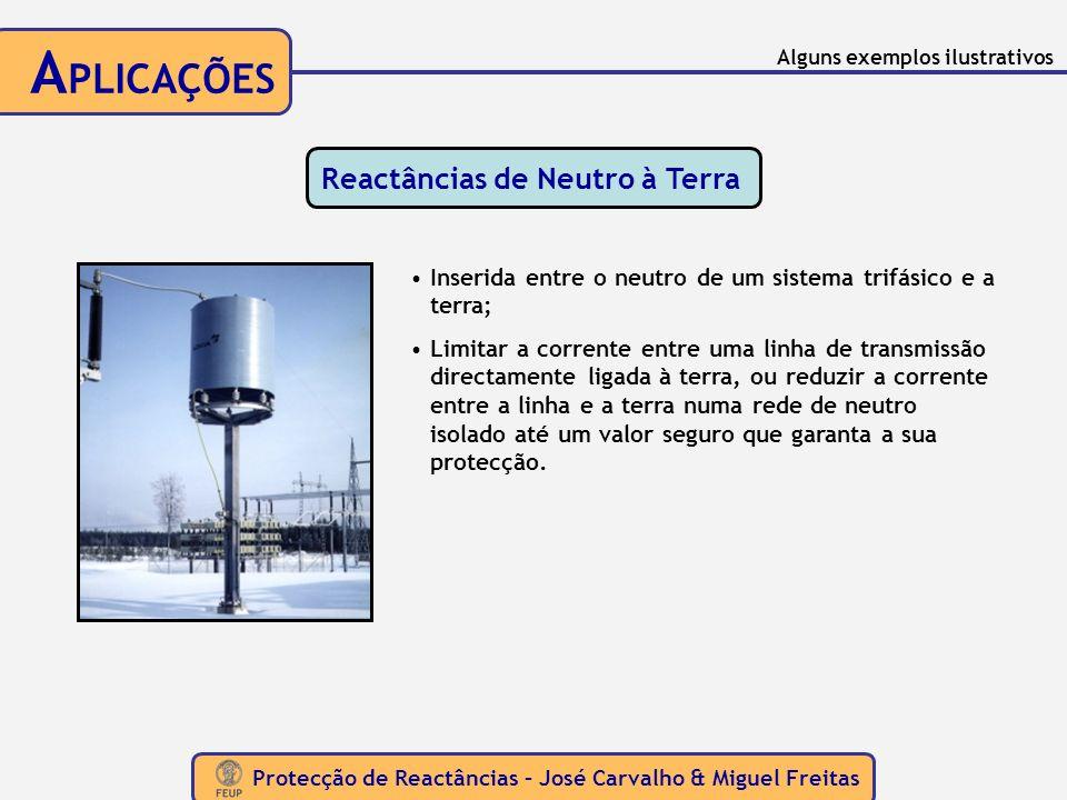 Protecção de Reactâncias – José Carvalho & Miguel Freitas A PLICAÇÕES Reactâncias de Neutro à Terra Inserida entre o neutro de um sistema trifásico e