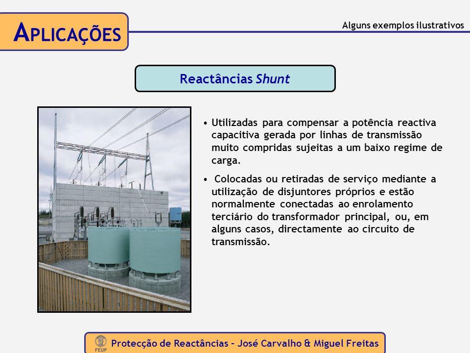 Protecção de Reactâncias – José Carvalho & Miguel Freitas A PLICAÇÕES Reactâncias Shunt Utilizadas para compensar a potência reactiva capacitiva gerad