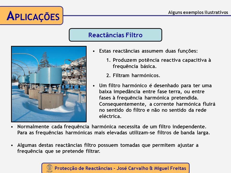 Protecção de Reactâncias – José Carvalho & Miguel Freitas A PLICAÇÕES Reactâncias Filtro Estas reactâncias assumem duas funções: 1.Produzem potência r