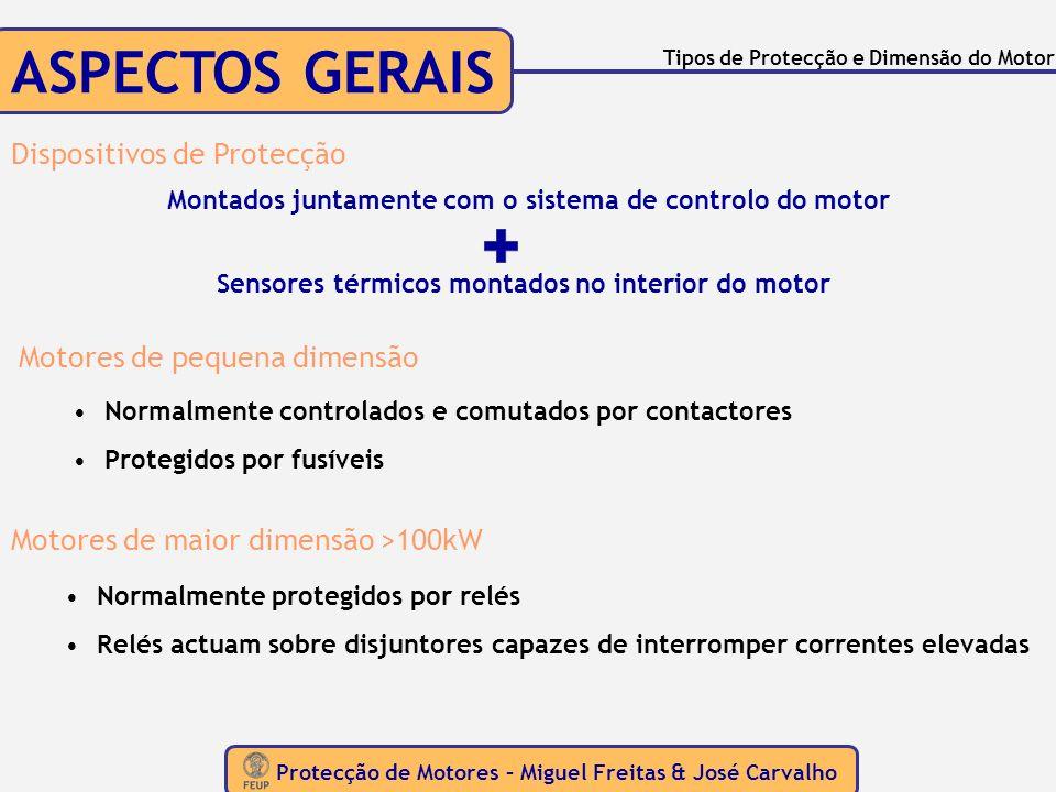 ASPECTOS GERAIS Protecção de Motores – Miguel Freitas & José Carvalho Tipos de Protecção e Dimensão do Motor Montados juntamente com o sistema de cont