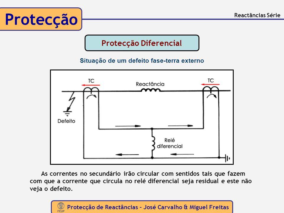 Protecção de Reactâncias – José Carvalho & Miguel Freitas Protecção Reactâncias Série As correntes no secundário irão circular com sentidos tais que f