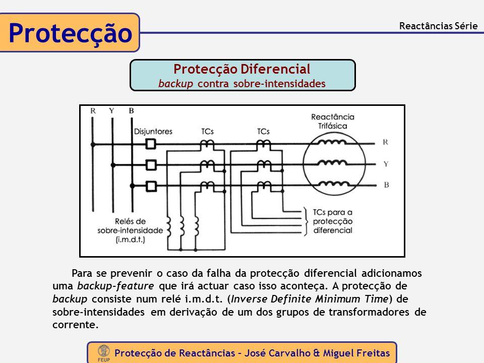 Protecção de Reactâncias – José Carvalho & Miguel Freitas Protecção Reactâncias Série Para se prevenir o caso da falha da protecção diferencial adicio