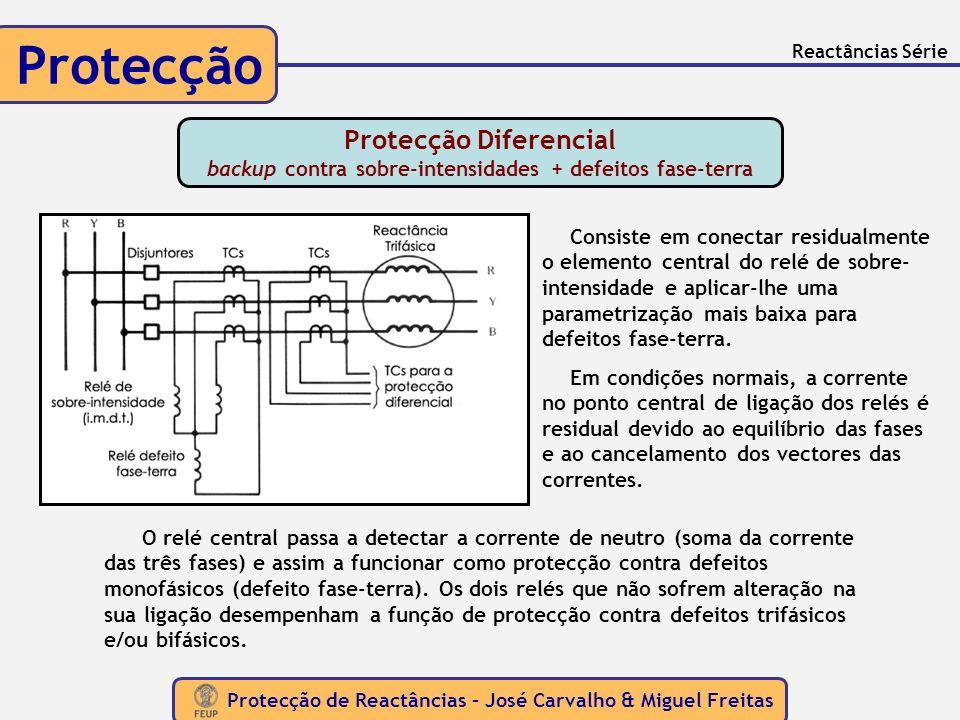 Protecção de Reactâncias – José Carvalho & Miguel Freitas Protecção Reactâncias Série O relé central passa a detectar a corrente de neutro (soma da co