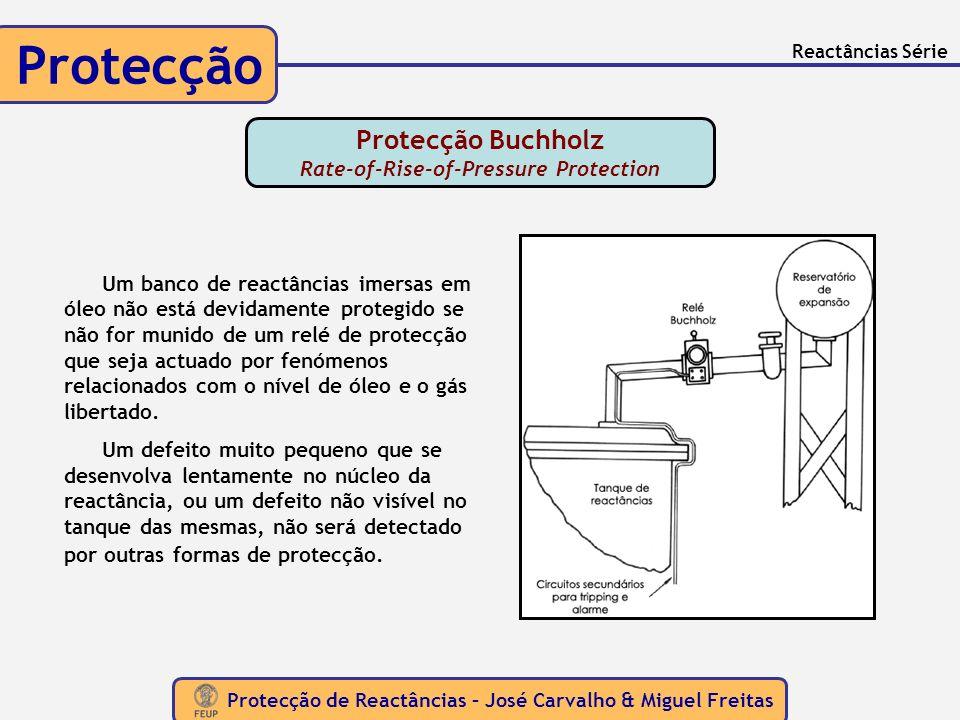 Protecção de Reactâncias – José Carvalho & Miguel Freitas Protecção Reactâncias Série Protecção Buchholz Rate-of-Rise-of-Pressure Protection Um banco